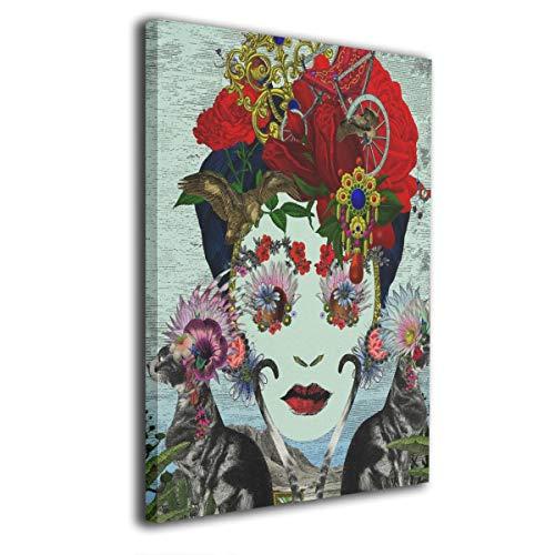 Pintura C Frida Kahlo Mexicana Folk Arte de Pared Pinturas Arte Sin Marco Listo para Colgar para Sala de Estar Oficina Decoración 16 x 20 Pulgadas, Madera, Blanco, Talla única