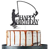 Black Glitter Happy Birthday Cake Topper, Birthday Party Decorations, Fishing Cake Topper, Fisherman Birthday Party Supplies