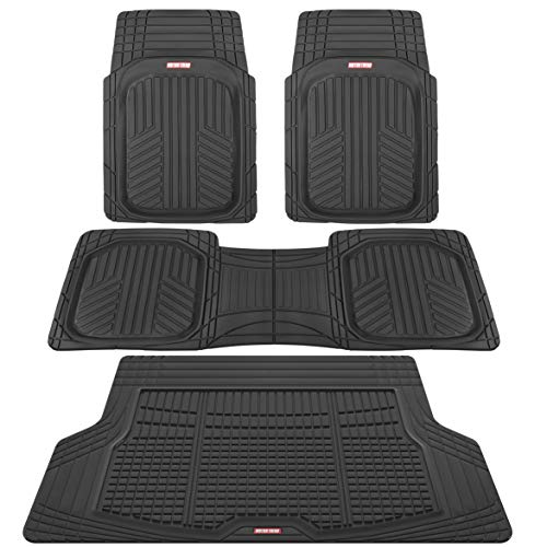 Motor Trend Premium FlexTough All-Protection Cargo Liner - DeepDish Front & Rear Mats Combo Set  w/ Traction Grips, Black