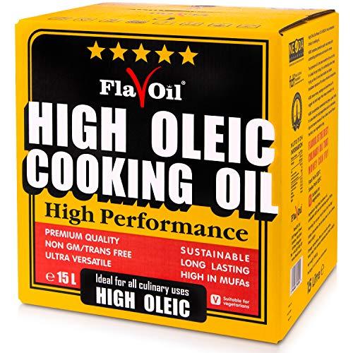 Nuovo Olio di Girasole Alto Oleico FlavOil, Bottiglia da 15 L - Sano olio vegetale ideale per la frittura, la cottura e la preparazione a freddo