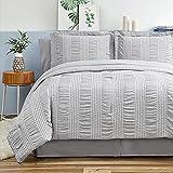 Bedsure Full Queen Comforter Set 8 Piece Bed in A Bag Stripes Seersucker Soft Lightweight Down Alternative Grey Bedding Set 88x88 inch