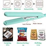 RyhamPaper Mini Heat Sealer, Portable Food Bag Mini Sealing Machine, Corrugated Heating Sheet for Plastic and Aluminum Bags (Green)