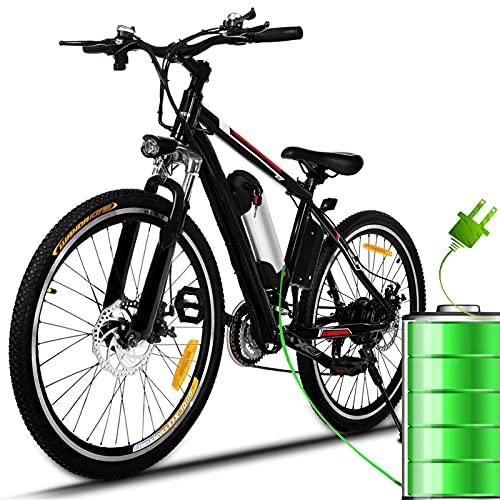 Bunao Vélo électrique pour vélo de Montagne électrique avec moyeu Shimano 21 Vitesses, 250W, 8AH, Batterie Lithium-ION 36V, 26', vélo de Ville léger, vélo de Ville Pedelec (Noir)