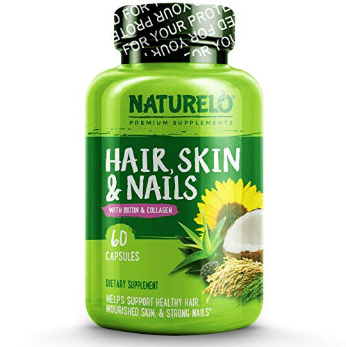NATURELO Hair, Skin and Nails Vitamins - 5000 mcg Biotin, Natural Collagen, Organic Vitamin C - Best Supplement for Faster Hair Growth for Women - Hair Loss Treatment for Men  60 Capsules