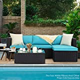 VITESSE 5 Pieces Patio Furniture Sectional Sets, Outdoor All-Weather PE Rattan Wicker Lawn Conversation Sets, Garden Sofa Set with Coffee Table and Washable Couch Cushions (Tiffany Blue)