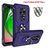 Moto G7 Power Phone Case,Moto G7 Supra Case with HD Screen Protector,Gritup 360 Degree Rotating Metal Ring Holder Kickstand Armor Anti-Scratch Bracket Cover Phone Case for Motorola G7 Power Purple
