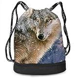 XCNGG Mochila con cordón, Bolso de Moda de la Mochila del Paquete del Gimnasio del Viaje del Deporte de la impresión del Lobo