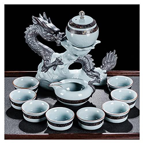 Kung Fu Set da t in ceramica cinese retr semi-automatico set da t soggiorno soggiorno soggiorno semi-automatico set da t 8 tazze (Color : Green)