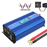 Pure Sine Wave Power Inverter 2000Watt car Converter DC 12V to 120V AC with 2 AC Outlets 2x2.4A USB Ports Remote Control and LCD Display by VOLTWORKS (12VBlue)