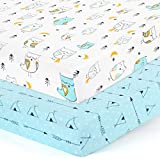Stretchy-Crib-Sheets-Set-BROLEX 2 Pack Portable Crib Mattress Topper for Baby Boys Girls,Ultra Soft Jersey Knit,Arrow & Owl