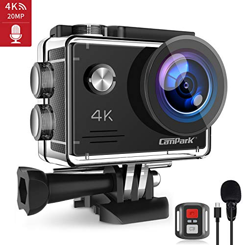 Campark Action Cam 4K 20MP Webcam PC Mode con EIS Telecomando Microfono Esterno WiFi Videocamera...