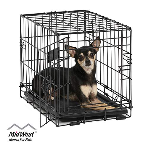 Dog Crate | MidWest ICrate XXS Folding Metal Dog Crate w/ Divider Panel, Floor Protecting Feet & Leak Proof Dog Tray | 18L x 12W x 14H Inches, Toy Dog Breed, Black