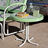 Small Round Retro Metal Outdoor Patio Furniture Portable Accent Side End Table 22' Diam. x 19.5' H