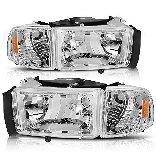AUTOSAVER88 Headlight Assembly Compatible with 1994-2001 Dodge Ram 1500/1994-2002 Dodge Ram Pickup 2500 3500 Chrome Housing Amber Reflector with Corner lights
