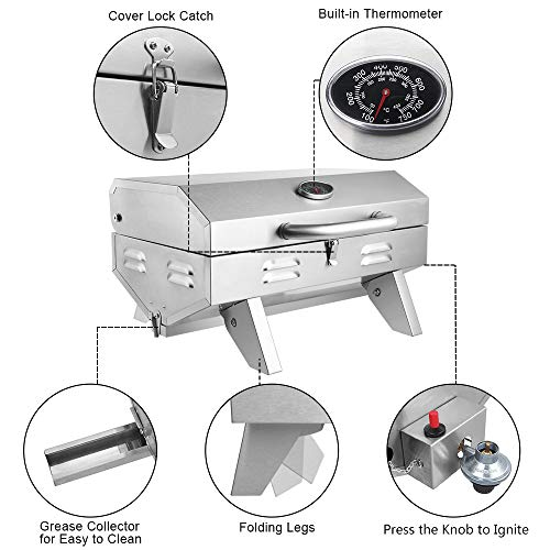 Product Image 5: ROVSUN Portable Propane Gas Grill 12,000BTU, Tabletop Outdoor Cooking Grill for Picnic Camping Tailgating Patio Garden BBQ, <a href=