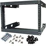 Kenuco Black 6U Wall Mount Open Frame Steel Network Equipment Rack 17.75 Inch Deep - Black - 6U - W19'' x D17.75'' x H14''