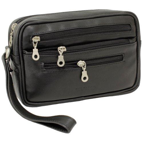 Branco Business Herren Damen Handgelenktasche Herrentasche Damentasche Tasche Leder schwarz