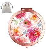 Dynippy Compact Mirror Round Rose Gold Makeup Mirror Folding Mini Pocket Mirror Portable Hand Mirror Double-Sided with 2 x 1x Magnification for Woman Mother Kids Great Gift (Watercolor Flower)