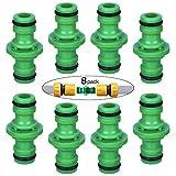 FEIGO Lot de 8 Raccords de Tuyau, 1/2 Double Connecteur Mâle Arrosage en Plastique, Accessoires d'irrigation pour Jardin, Pelouse, Agriculture - Vert