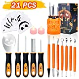 Halloween Pumpkin Carving Kit, TROPICALTREE 21Pcs Pumpkin Carving Tools Kit Accessories, Professional Carving Knife Set Stainless Steel with Stencils & Storage Bucket for Halloween Decoration (21PCS)
