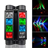 SevenStars Moving Head DJ Light, 8 Beams Spider LED Stage Light, RGBW 4 in 1 Spotlighting, Master-slave/DMX/Sound/Auto Control Modes, Professional for Wedding, Karaoke, Disco, Light Show and Events.