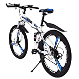 GHGH 26in Folding Mountain Bike Shimanos 21 Speed Bicycle Full Suspension MTB Bikes High Carbon Steel New