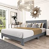 Amolife King Size Fabric Upholstered Platform Bed Frame with Adjustable Headboard and Wood Slat Support, Light Grey