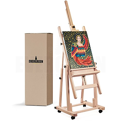 """Heavy Duty H Frame Wooden Art Easel for Adults - Oil Painting Easel Stand Wood Artist Easels for Painting - Adjustable Standing Studio Floor Easel - Professional Art Supplies, Large Canvas up to 90"""""""