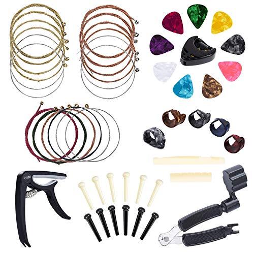 Anvin chitarra Tool kit fasciatoio incluso kit di accessori All-In 1, capotasto, corde per chitarra acustica, avvolgicorde, ponte pins, pin estrattore, plettri e pick Holder, plettri