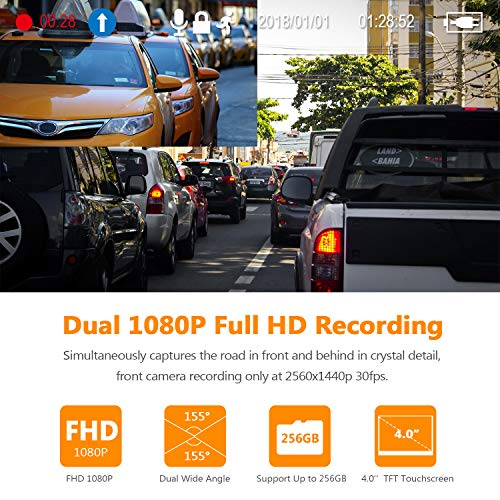 Product Image 3: Z-Edge Dash Cam Front and Rear 4.0″ Touch Screen Dual Dash Cam FHD 1080P with Night Mode, 32GB Card Included,155 Degree Wide Angle, WDR, G-Sensor, Loop Recording, Support 256GB Max