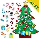 AerWo DIY Felt Christmas Tree Set + 26pcs Detachable Ornaments, Kids Wall Hanging Xmas Gifts for Christmas Decorations