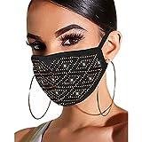 Watopia Damen Mundschutz mit Strass Glitzer Elegant Waschbar Mund und Nasenschutz Cover Halstuch Maske für Hochzeit Abend Wedding Party