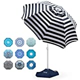 OutdoorMaster Beach Umbrella with Sand Bag - 6.5ft Beach Umbrella with Sand Anchor, UPF 50+ PU Coating with Carry Bag for Patio and Outdoor - Navy Striped