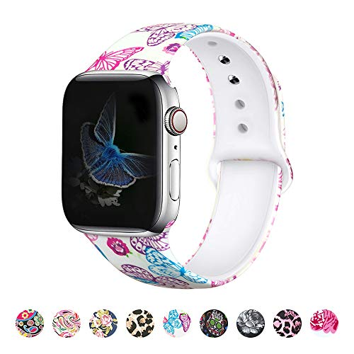 MITERV Compatible with Apple Watch Band 42mm 44mm Soft Silicone Fadeless Pattern Printed Replacement Bands for iWatch Series 5,4,3,2,1 Butterfly M/L
