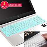 [2Pcs] Keyboard Cover Skin for hp Envy 17 Series/HP Laptop 17t 17-BS/BW/CA/by,HP Pavilion X360 15.6 inch,Envy x360 15m-bp/bq,HP Spectre x360 15-ch011dx,Pavilion 15-cb/cc/cd 15-bw 16-bs,Mint+Clear