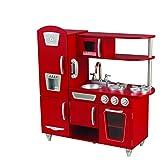 KidKraft 53173 Cuisine enfant en bois Red Vintage, jeu d'imitation incluant téléphone - Rouge