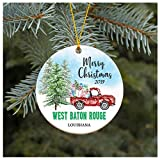 Christmas Ornament 2019 West Baton Rouge Louisiana LA Christmas Decoration Funny Gift Christmas Together First Christmas as a Family Couples Gifts Boyfriend Girlfriend 3' Flat Circle