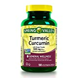 Spring Valley Turmeric Curcumin 500mg with Ginger Powder, General Wellness, 180 Capsules