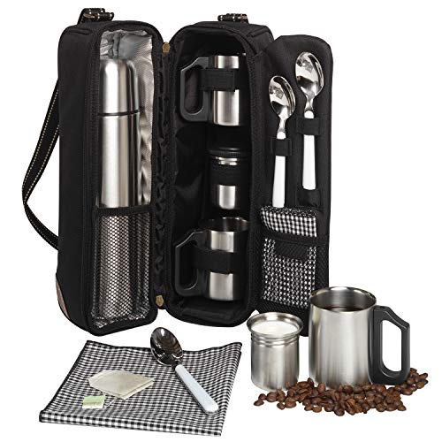 Picnic at Ascot Travel Coffee Tote for 2 Including Stainless Vacuum Flask, Cups, Creamer and Teaspoons- Designed & Assembled in the USA