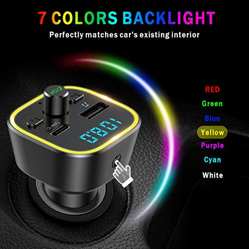 Product Image 5: COMSOON FM Transmitter for Car, Bluetooth Car Adapter with 7 Colors LED Backlight, Wireless Music Player Radio Transmitter Hands Free Car Kit with Type-C PD Quick Charging Port & USB Drive