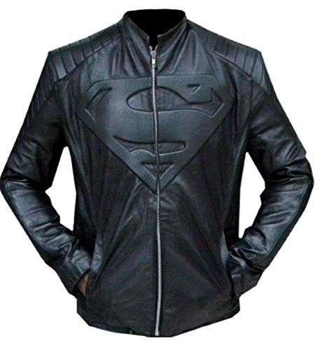 Classyak - Chaqueta de Cuero Negro súper para Hombre