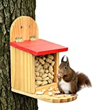 Squirrel Feeder for Outside Hanging- Corn, NutsContainer, Pine Wood House withPeanuts in Shell...