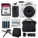 Tech :  Appareil photo numérique Kodak PIXPRO AZ252 Astro Zoom 16MP (blanc) + étui pour appareil photo Point + Shoot + carte mémoire SD Transcend 32 Go + batteries rechargeables et chargeur + lecteur de carte USB + trépied de table + accessoires  , avis