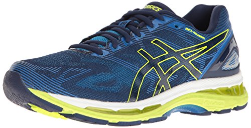 ASICS Men's Gel-Nimbus 19 Running Shoe, Indigo Blue/Safety Yellow/Electric Blue, 7.5 M US