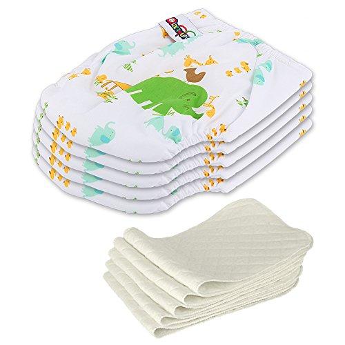 5 Stück Wiederverwendbare Waschbare Verstellbar Babywindeln Baby Windelhose Baby-Tuch-Windel Weicher Stoff Größe Verstellbar (Elefant)