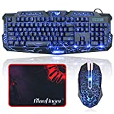 BlueFinger Gaming Keyboard and Mouse,USB Wired Backlit Gaming Mouse and Keyboard Combo,Letters Glow, 3 Color Crack Backlit,Illumination Keyboard and Mouse Set for Game Work