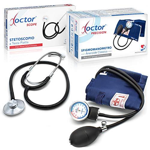 AIESI Sfigmomanometro Manuale Professionale ad Aneroide modello classico per adulti con stetoscopio...