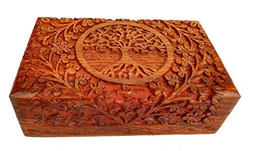 Rastogi Handicrafts – Fina caja de madera tallada con el diseño del árbol de la vida para guardar tus joyas – hecha a mano en la India