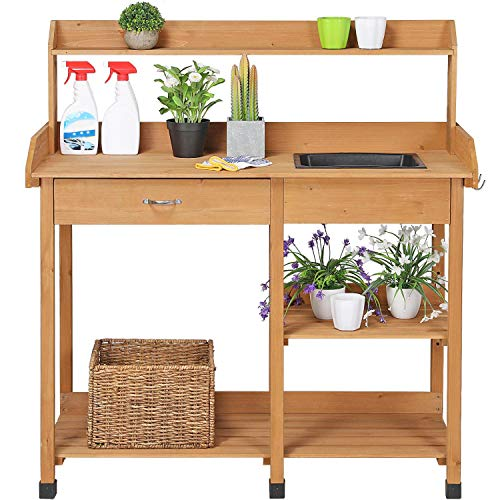 YAHEETECH Potting Bench Outdoor Garden Work Bench Station Planting Solid Wood Construction w/Sink Drawer Rack Shelves Natural