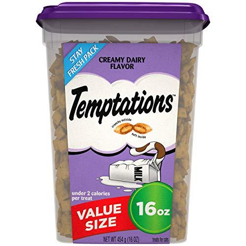 TEMPTATIONS Classic Crunchy and Soft Cat Treats Creamy Dairy Flavor, 16 oz. Tub
